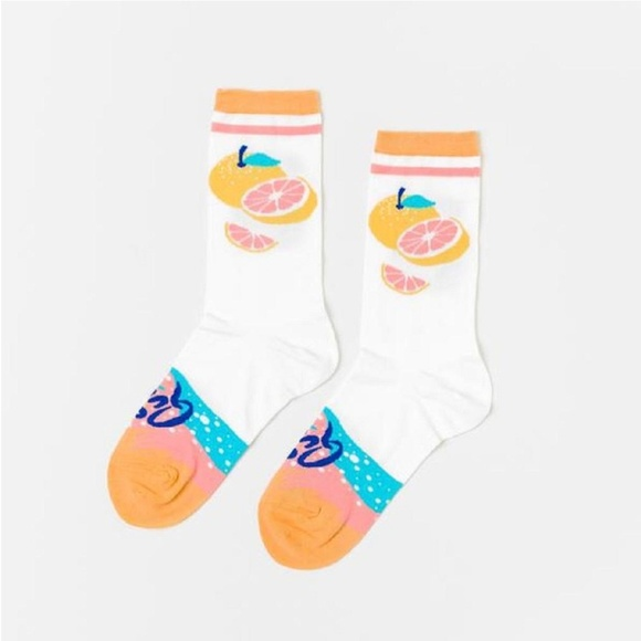 Yellow Owl Workshop Accessories - Pomelo Grapefruit La Queen Women's Crew Socks